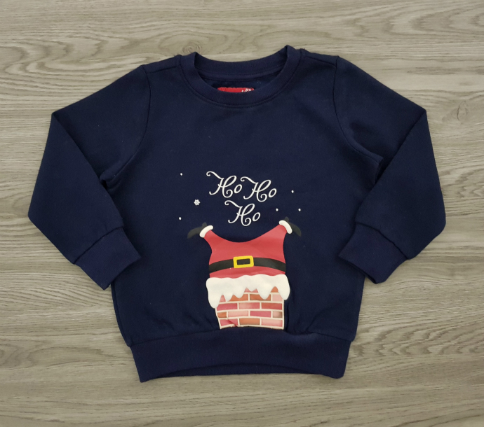 MERRY CHRISTMAS Boys Long Sleeved Shirt (NAVY) (92 to 140 CM)