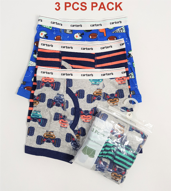 CARTERS 3 Pcs Boys Boxer Shorts Pack ( Random Color) (4 to 12 Years)