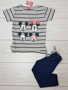 Girls T-Shirt And Short Set (GRAY - NAVY) (LP) (FM) (1 to 12 Years)