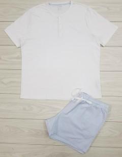 LIVERGY Mens Pyjama Set (WHITE - LIGHT BLUE) (S - M - L - XL)