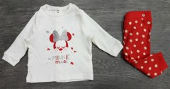 Girls 2 Pcs Set (WHITE - RED) (FM) (3 to 36 Months)