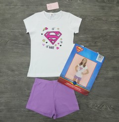 SUPERGIRL Girls T-Shirt And Short Set (WHITE - PURPLE) (18 Months 8 Years)