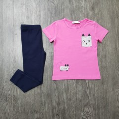 M&S Girls 2 Pcs Pyjama Set (PINK - NAVY) (2 to 8 Years)