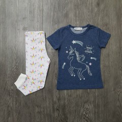 M&S Girls 2 Pcs Pyjama Set (NAVY - WHITE) (2 to 8 Years)