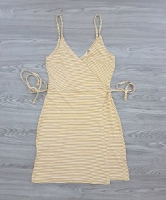 BASIC Ladies Dress (BROWN - WHITE) (XS - S - L - XL)