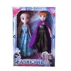 2Pcs Set Frozen 2 Princess Elsa Anna Toys (LIGHT BLUE - BROWN) (26×18.5×4.4 Cm)