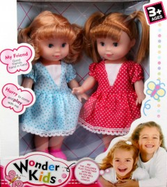 WONDER KIDS 2 Pcs Dolls Toys Pack (LIGHT BLUE - RED) (27 × 31 CM)