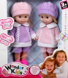WONDER KIDS 2 Pcs Dolls Toys Pack (LIGHT PINK - PURPLE) (27 × 31 CM)