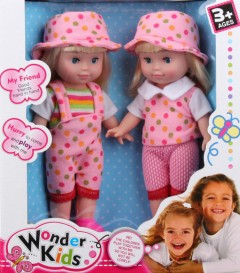 WONDER KIDS 2 Pcs Dolls Toys Pack (PINK) (27 × 31 CM)