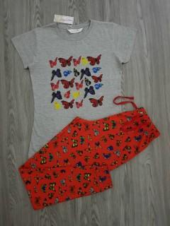 ANNABELLE Ladis 2 Pcs Pyjama Set (GRAY-RED) (S - M - L - XL)
