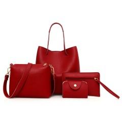 Ladies 4 Pcs Bags (RED) (Os)