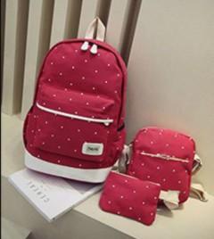 Ladies 3 Pcs Back Pack Set (RED) (OS)