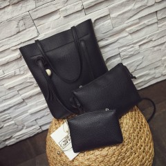 Ladies 3 Pcs Bags (BLACK) (OS)