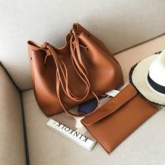 Ladies 2 Pcs Bags (BROWN) (OS)