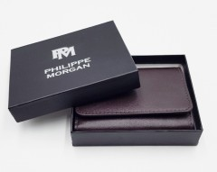 PHILIPPE MORGAN Mens Wallet (DARK BROWN) (OS)