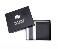 PHILIPPE MORGAN Mens Wallet (BLACK - CREAM)