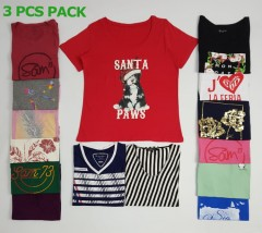 3 Pcs Ladies T-Shirt Pack (Random Color) (XS - S - M - L - XL - XXL - 3XL - 4XL - 5XL)