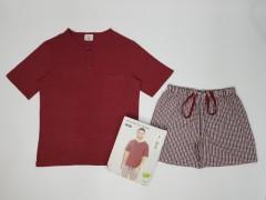 ENRICO MORI Mens 2 Pcs Shorty Set (RED) (M - L - XL - XXL)
