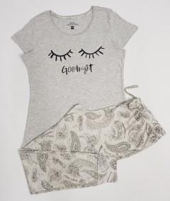 BASIC COLLECTION Ladies 2 Pcs Pyjama Set (GRAY) (XS - S - M - L)