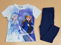 M AND S Girls 2 Pcs Pyjama Set (WHITE - NAVY) ( 2 to 8 Years)