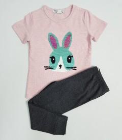 M AND S Girls 2 Pcs Pyjama Set (PINK-GRAY) (2 to 8 Years)