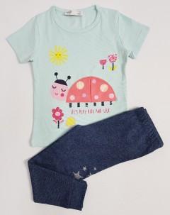 M AND S Girls 2 Pcs Pyjama Set (LIGHT BLUE - DARK GRAY) (2 to 8 Years)