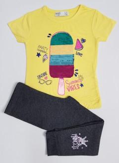M AND S Girls 2 Pcs Pyjama Set (YELLOW - DARK GRAY) ( 2 to 8 Years)
