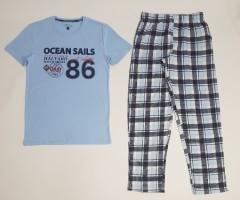BASIC COLLECTION Mens 2 Pcs Pyjama Set (LIGHT BLUE) (S -M - L - XL)