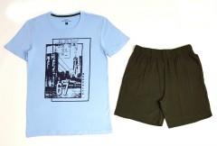 BASIC COLLECTION Mens 2 Pcs Shorty Set (BLUE - GREEN) (S - M - L - XL)