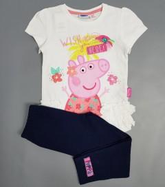 PEPPA PIG Girls 2 Pcs Pyjama Set (WHITE-BLACK) ( 2 to 5 Years)