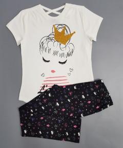 KOKO AILIS Girls 2 Pcs Pyjama Set (WHITE-BLACK) (2 to 16 Years)