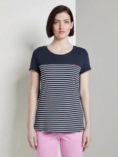 TOM TAILOR Ladies T-Shirt (NAVY - WHITE) (XS - S - M - L - XL)