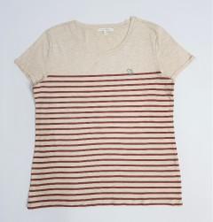 TOM TAILOR Ladies T-Shirt (CREAM - MAROON) (M - L)