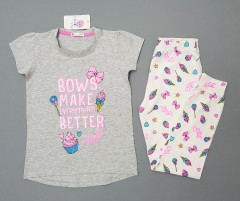 COTTON CANDY Girls 2 Pcs Pyjama Set (GRAY - WHITE) (2 to 8 Years)