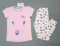 COTTON CANDY Girls 2 Pcs Pyjama Set (LIGHT PINK - WHITE) (2 to 8 Years)