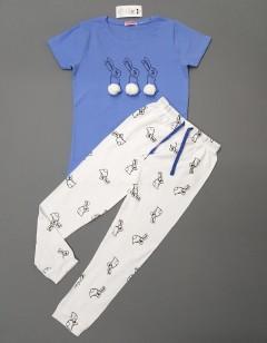 POCO PIANO Girls Pyjama (BLUE-WHITE) (4 to 6 Years)