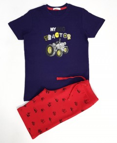 DREAM 2 Pcs Boys Shorty Set (NAVY - RED) (3 to 10 Years)