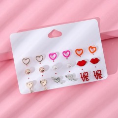 9 Pcs Pack Earrings (AS PHOTO) (OS)
