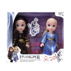 2 pcs/set Princess frozen 2 Anna Elsa Dolls with box For Girls Toys Princess (BROWN - BLUE) (ONE SIZE)
