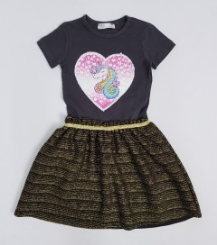 M AND S Girls Frocks (BLACK - GOLD) (2 to 8 Years)