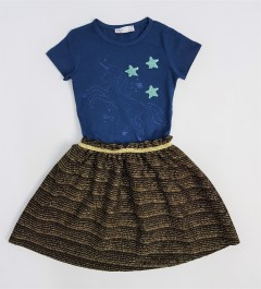 M AND S Girls Frocks (NAVY - GOLD) (2 to 8 Years)