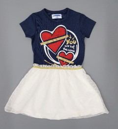 PEBBLES Girls Frocks (NAVY - WHITE) (1 to 8 Years)