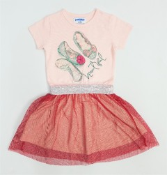 PEBBLES Girls Frocks (LIGHT PINK - RED) (1 to 8 Years)