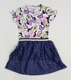 Girls Frocks (WHITE - NAVY) (12 Months to 8 Years)