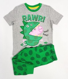 PEPPA PIG Boys 2 Pcs Pyjama Set (GREEN - GRAY) (18 Month to 8 Years)