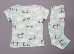 Girls 2 Pcs Pyjama Set (LIGHT GREEN) (2 to 8 Years)