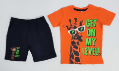 Boys 2 Pcs Shorty Set (ORANGE - BLACK) (2 to 8 Years)