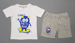 Boys 2 Pcs Shorty Set (WHITE - GRAY) (2 to 8 Years)