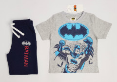 BATMAN Boys 2 Pcs Shorty Set (GRAY - NAVY) (2 to 8 Years)