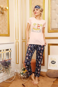MHA PYJAMA Ladies Turkey 3 Pcs Pyjama Set (LIGHT PINK - NAVY) (S - M - L - XL)